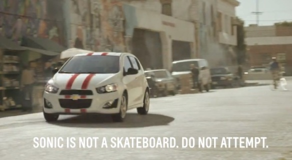 Chevy commercial: Theophilus London Skate Boarding with a Sonic.